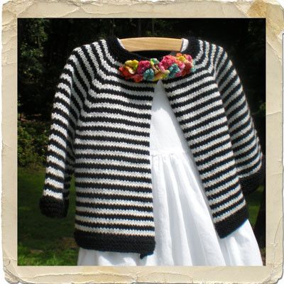 Heirloom Stitches Brittany Striped Baby Cardigan Knitting Pattern: