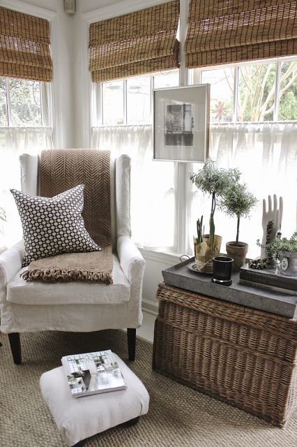 Bamboo shades add instant outdoor appeal to this cozy nook.