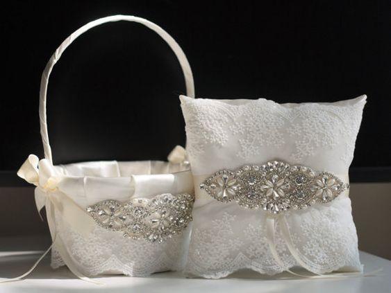 Ivory Flower girl basket and ring bearer pillow set \ Wedding basket and wedding pillow set with rhinestones applique + wedding sash belt
