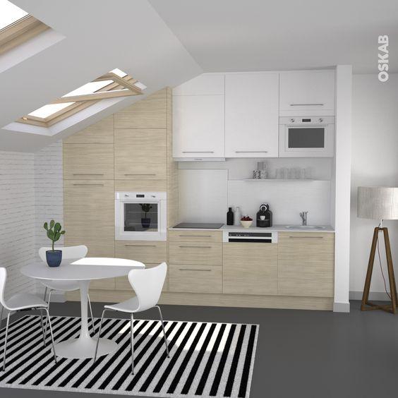 Cuisine en bois clair structur stilo noyer blanchi cuisine - Deco cuisine blanc et bois ...