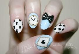 Alice in wonderland themed nails   plz follow me i follow back