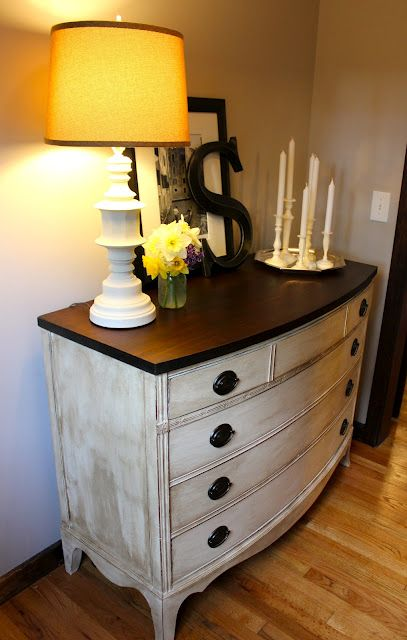 Painting an old dresser- would love to similar distressed treatment for AG's room