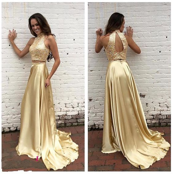 Baby Blue Prom Dresses 2016 Two Pieces Gold Prom Dresses Real Images A Line High Neck Beaded Sequins Satin Special Pageant Gowns With Keyhole Back And High Split Classy Prom Dresses From Nicedressonline, $186.03| Dhgate.Com