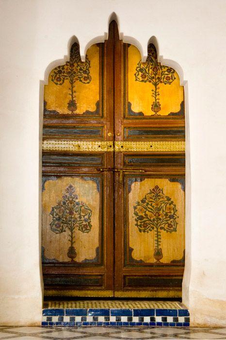 Painted doors in Palais Dar Si Said, Marrakech