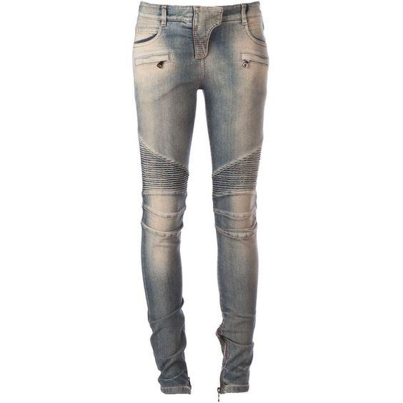 Balmain Biker Skinny Jeans (€755) ❤ liked on Polyvore featuring jeans, pants, bottoms, denim, pantalones, blue, denim skinny jeans, balmain jeans, blue jeans and blue skinny jeans