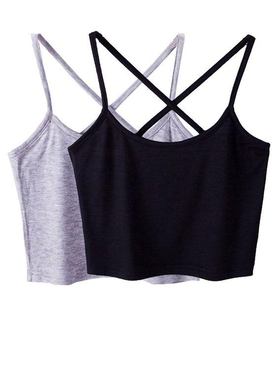 Micmall Cami Camisole Short Cross Spaghetti Strap Women's Tank Top Black/Grey at Amazon Women's Clothing store:
