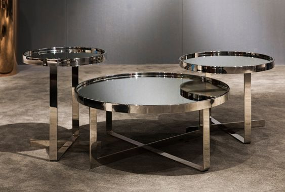 Modrest Wilcox Contemporary Mirrored Coffee Table Set - Coffee - contemporary tables for living
