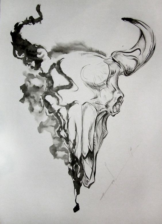 bull skull drawing the image kid has it. Black Bedroom Furniture Sets. Home Design Ideas