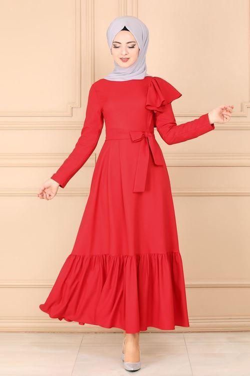 Modaselvim Elbise Firfirli Kemerli Elbise 4186so376 Kirmizi Elbise Cizgili Elbise Elbise Modelleri