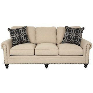 Porter Isabelle Cream Linen Look Sofa with Woven Accent Pillows and Nail Head Trim | Overstock.com Shopping - The Best Deals on Sofas & Loveseats