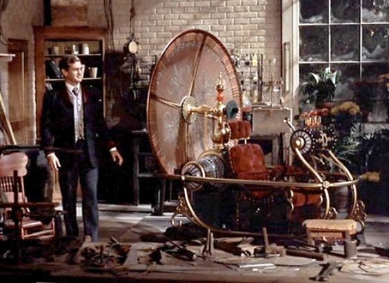 THE TIME MACHINE. In one of the movie scenes, Rod Taylor, sit in the Time Machine is on its way for another era...