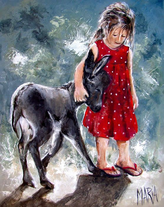 Love her little slippers & the donkey's delighted smile - Maria Magdalena Oosthuizen