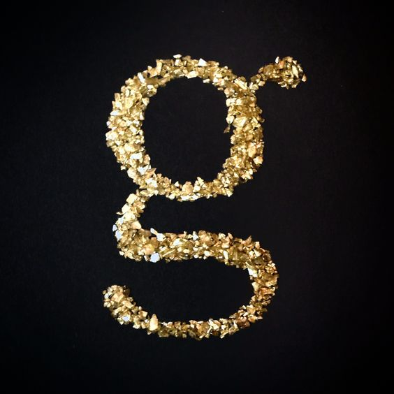 Caslon lower case g type study—gold sand  By: Katie Jo Crawford