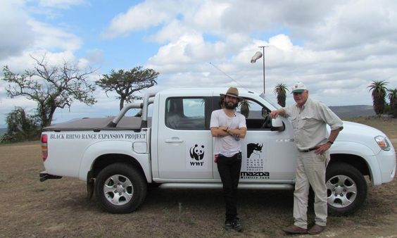 Jared Leto with WWF veterinarian Dr. Jacques Flamand of the Black Rhino Range Expansion Project at Hluhluwe–Umfolozi Game Reserve. #Safari2AfricaTravel