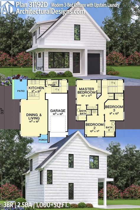 Plan 31192d Modern 3 Bed Cottage With Upstairs Laundry Cottage House Plans Modern Cottage Architecture House