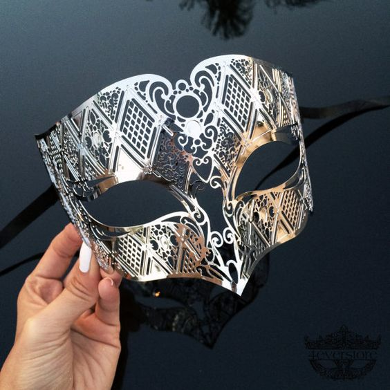 Silver Men's Masquerade Mask Mens Mask Silver by 4everstore: