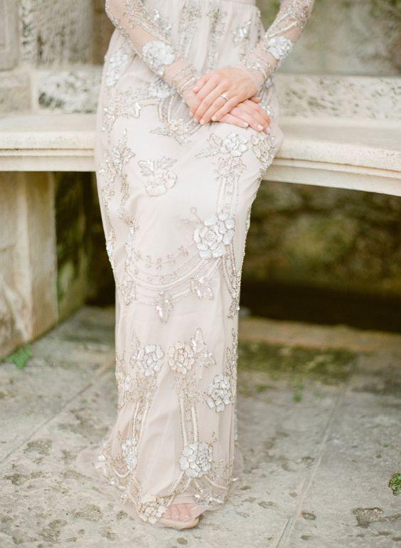 Stunning beaded BHLDN gown: itakeyou.co.uk