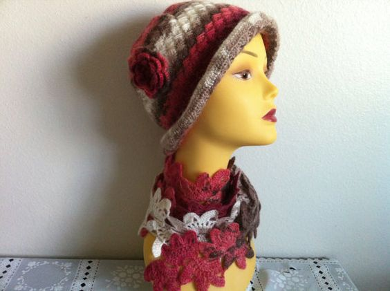 Womens Winter Hat Scarf Set Crochet HAt and Scarf by zahraknitting, $49.90