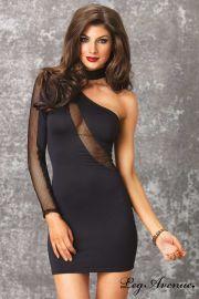 """Robe Asymétrie & Transparence - Collection Black Dress Edition - Leg Avenue. Une élégance à couper le souffle pour cette """"Petite Robe Noire"""" courte et moulante. Sur www.sensuality-lingerie.com"""