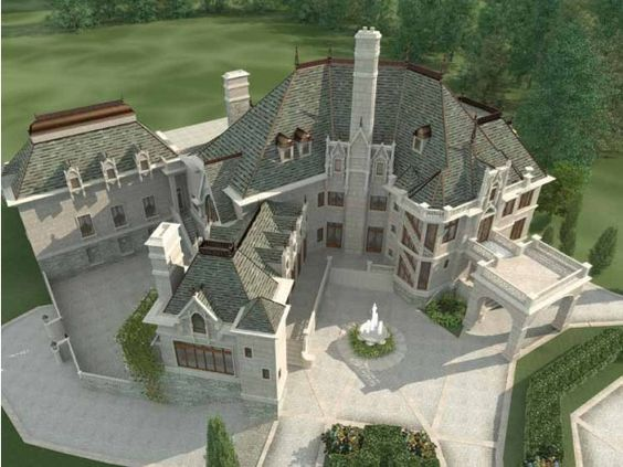 Chateaus  Square feet and Dream homes on PinterestEplans HWEPL Ariel View I love this  It    s only sq ft though a good