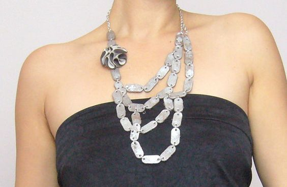 Leather necklace long/ leather chainmaille necklace/ leather and metal