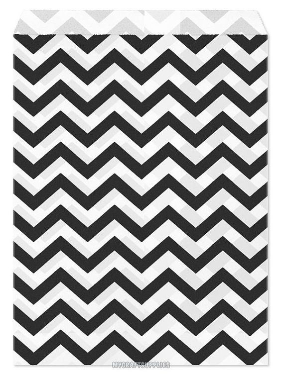 100 Black Chevron Paper Bags 5x7 inches with Chevron by wrapworks