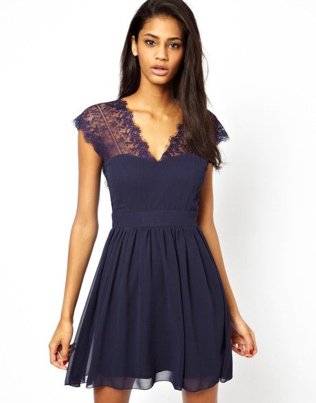 Lace Skater Dress With Scallop Back - Lyst