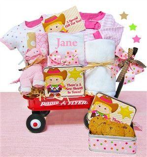 New Baby Girl Cowboy Wagon Gift Basket