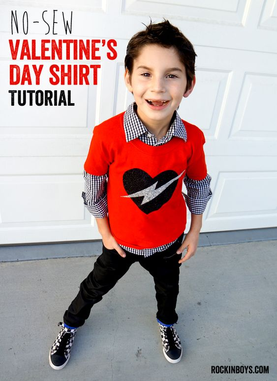 Easy No-sew Valentine's Day T-shirt - Rockin' Boys Club: