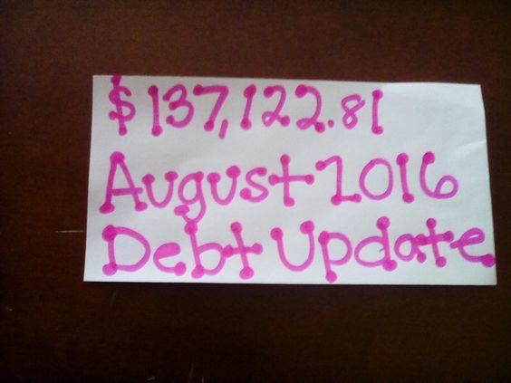 Debt free journey August/September 2016 budget update