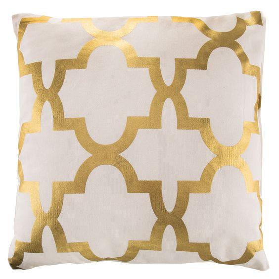 Metallic Gold & White Quatrefoil Pillow