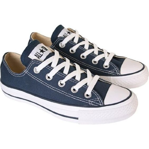 Converse Navy All Star Ox Womens Low Top Trainers (UK 7) ($38) ❤ liked on Polyvore featuring shoes, sneakers, star shoes, converse footwear, navy shoes, converse sneakers and navy blue shoes: