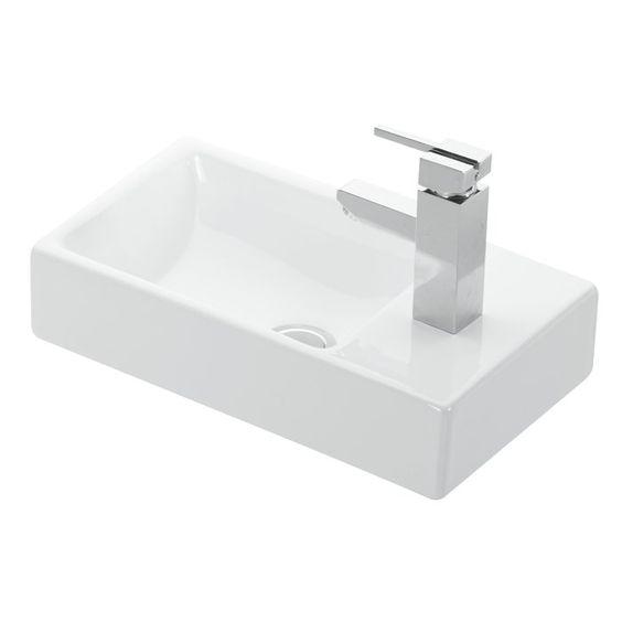 Minimal Ceramic Rectangular Vessel Bathroom Sink