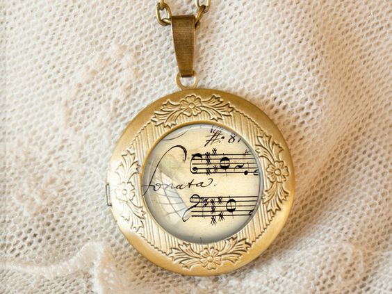 """""""Sonate"""" Noten Medaillon zum öffnen von ExLibris auf DaWanda.com"""