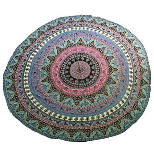 Elaco Large Chiffon Printed Indian Mandala Round Roundie Beach Towels Circle Beach Towel Round Yoga Mat(T) ** To view further for this item, visit the image link.