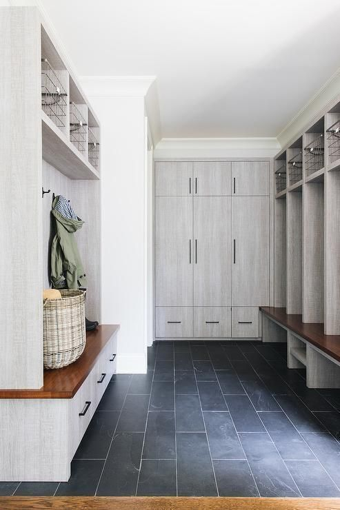 Farmhouse Inspiration An Expansive Gray Mudroom Boasts Slate Floor Tiles With Images Slate Tile Floor Farmhouse Flooring Mudroom Flooring