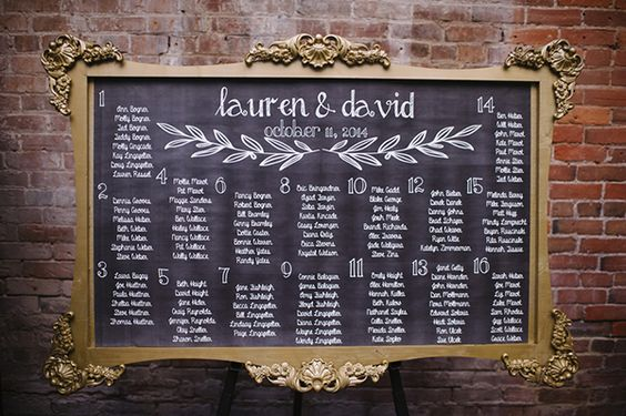 Handmade Chalkboard Seating Chart in a Vintage Gold Frame | Mindy Sue Photography | Wintery Blush and Slate Blue Wedding
