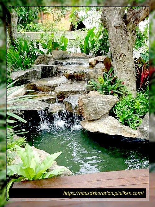 48 Garten Teiche Und Wasser Garten Landschaftsbau Ideen Water Features In The Garden Waterfalls Backyard Ponds Backyard