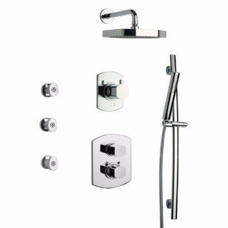 Latoscana Novello thermostatic valve shower system Option 7 in Brushed Nickel