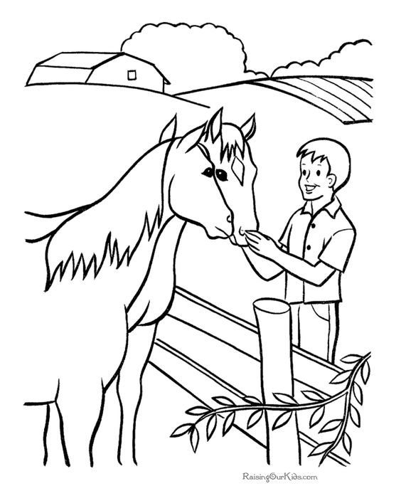 Horse coloring page - petting 2 horses