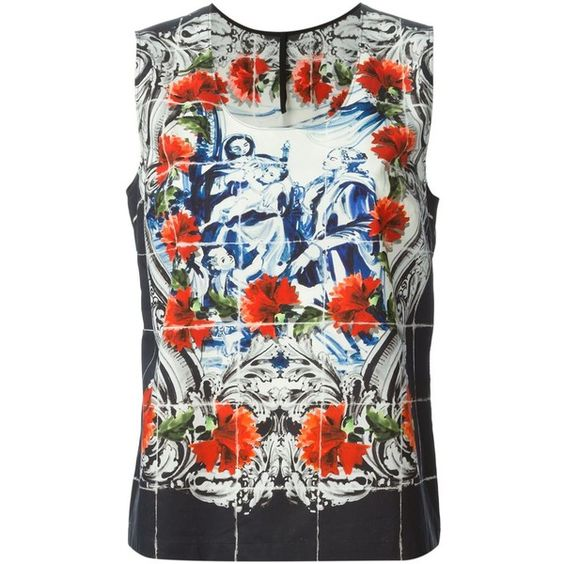 Dolce & Gabbana Majolica Print Tank Top (4.182.945 IDR) ❤ liked on Polyvore featuring tops, black, scoop neck tank top, print tank, patterned tops, scoop neck sleeveless top and scoopneck tank
