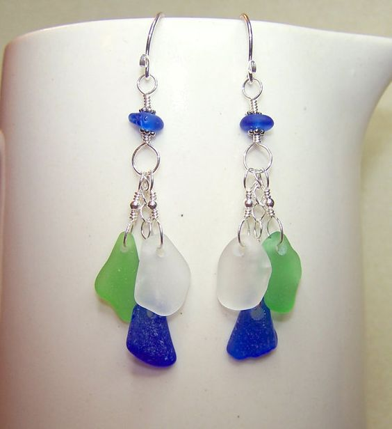 Sea Glass Earrings Beach Glass Jewelry Long Dangle by BikerBlingCa