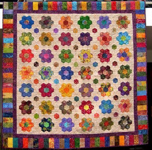 Flowers garden, Hexagons and Hexagon quilt on Pinterest