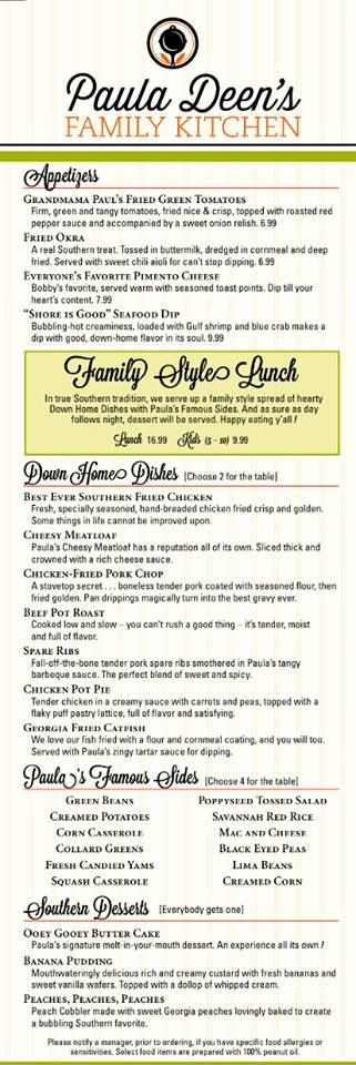 Lunch menu for Paula Deen's Family Kitchen restaurant in Pigeon Forge