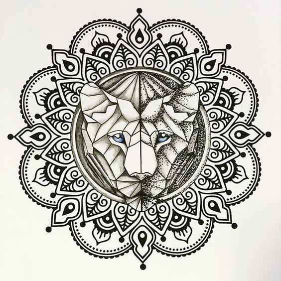 lioness mandala tattoo - Google Search