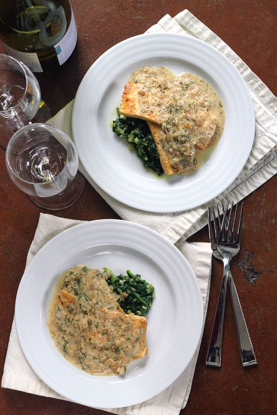 Mustard Dill Tofu with Wilted Garlic Spinach