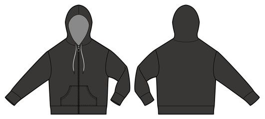 Download Zipup Hoodie Jaket Fashion Vector Illustration Flat Sketches Template Fashion Inspiration Design Fashion Vector Flat Sketches