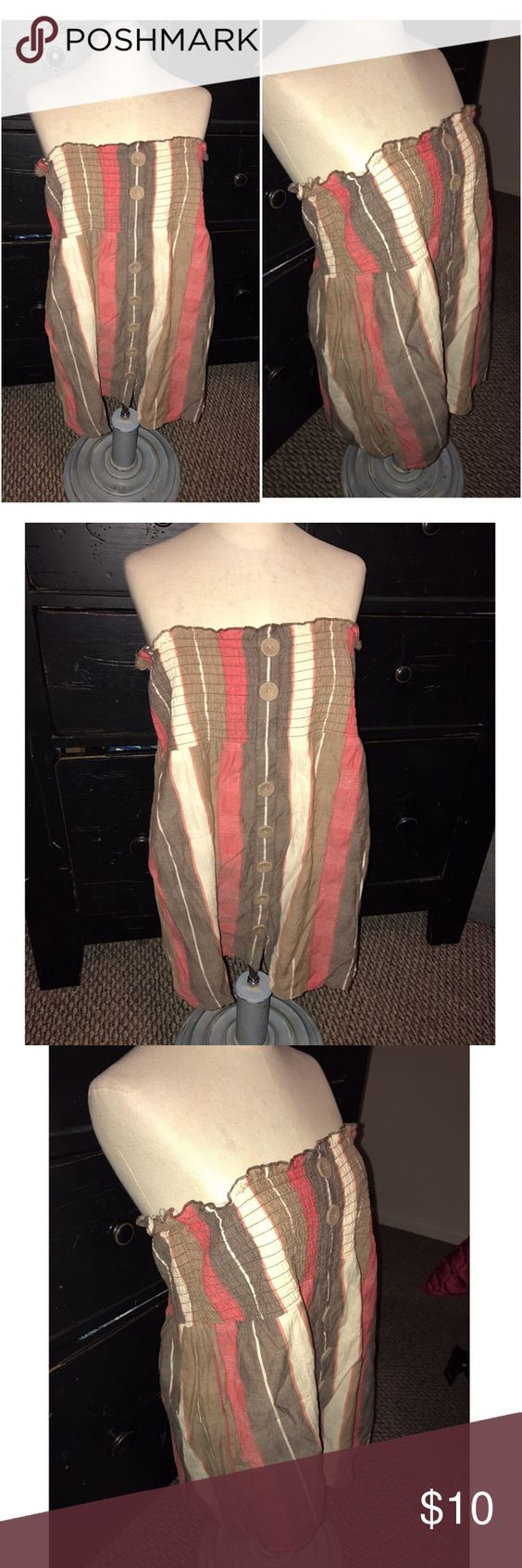 Maurice's top Red, brown, and tan striped button strapless top size medium from Maurice's Maurices Tops Blouses