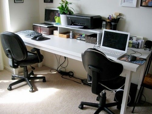 Home Office Desk For 2 People | Space For Two Desks But Still Need Working  Places For Two People ... | For The Home | Pinterest | Office Desks, ...