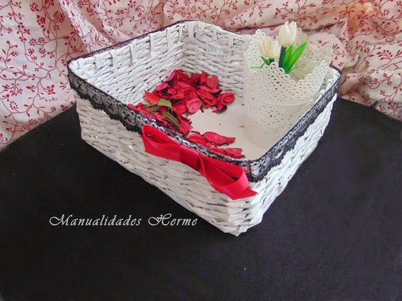 Hacer una cesta con peri dicos craft pinterest - Manualidades con periodico ...